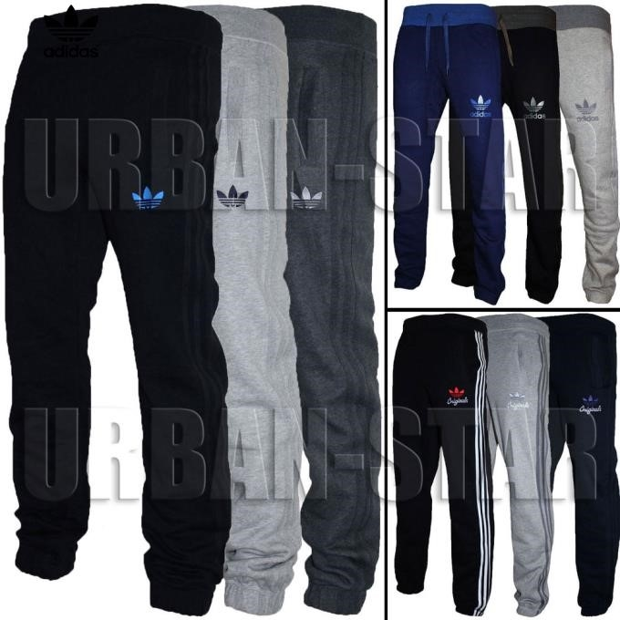 Grey Adidas Tracksuit With Blue Stripes
